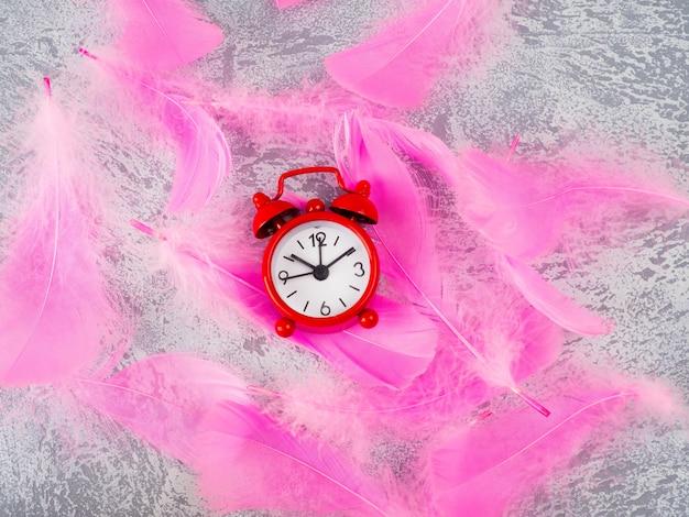 Vermelho, bonito, um, despertador divertido, cor-de-rosa, penas, glamour