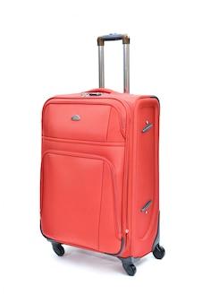 Vermelho da mala grande moderna em um branco