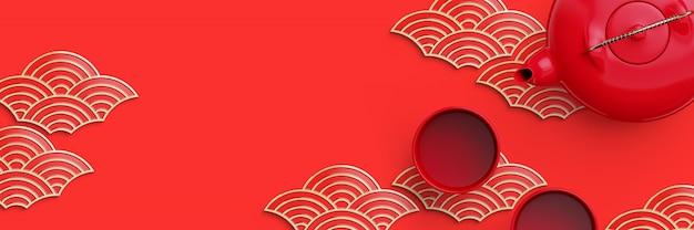 Vermelho e forma de onda oriental geométrica do ouro e bule de chá sobre fundo vermelho. ilustração de renderização 3d.
