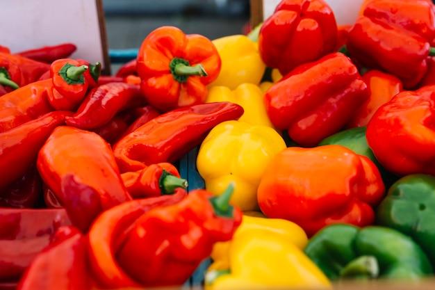 Vermelho fresco colhido; vegetais de pimentão amarelo e verde