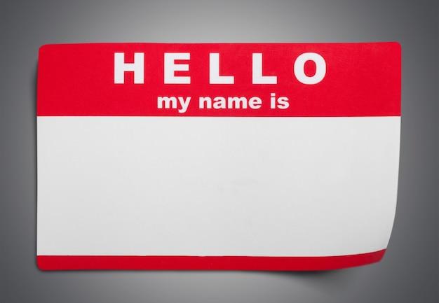 Vermelho olá, meu nome é etiqueta com espaço de cópia.