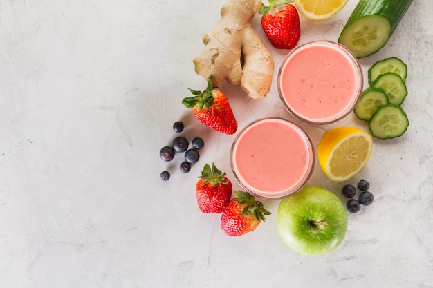 Vermelho, smoothie, ingredientes
