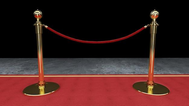 Vermelho, tapete evento, barreira, e, ouro, corda, barreira, conceito, de, sucesso, e, triunfo, 3d, fazendo