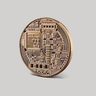 Verso da moeda bitcoin ouro