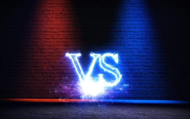 Versus fundo com ilustração 3d de raios de brilho azul e vermelho