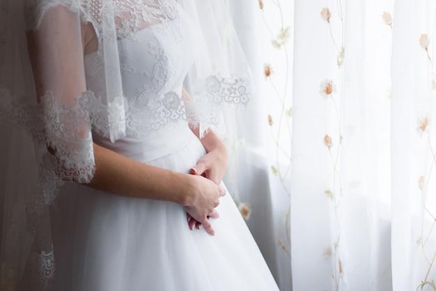 Vestido de noiva da noiva. cerimônia de casamento, dia da noiva