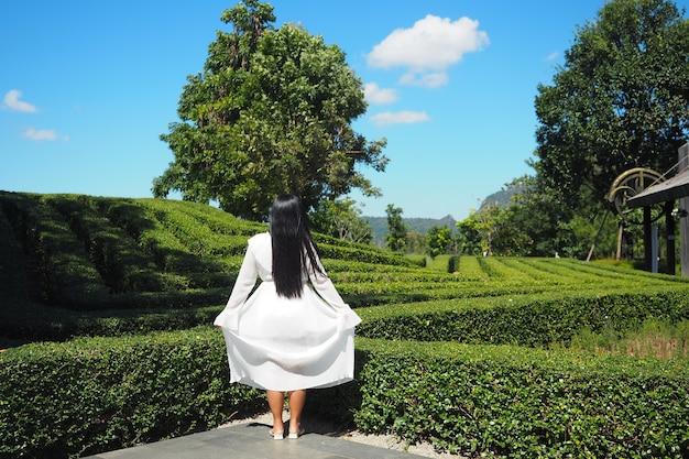 Vestido feminino branco em um belo fundo natural e um prado de céu azul claro
