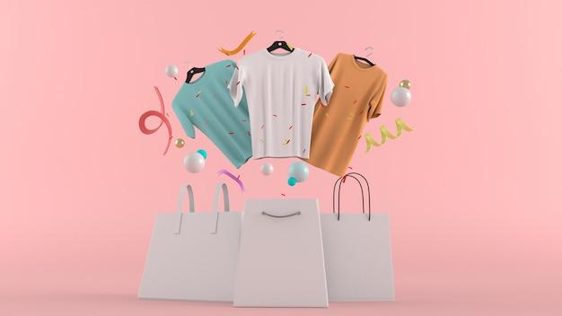 Vestidos, calças, moletons, chapéus, bolsas, sapatos de salto altos e óculos de sol entre bolas coloridas em uma renderização de parede 3d rosa.