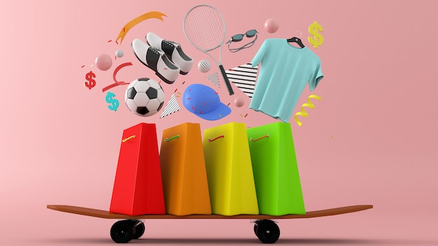 Vestidos, calças, moletons, chapéus, bolsas, sapatos de salto altos e óculos de sol entre sacolas coloridas