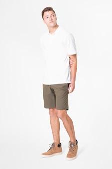 Vestuário casual masculino de camisa pólo branca