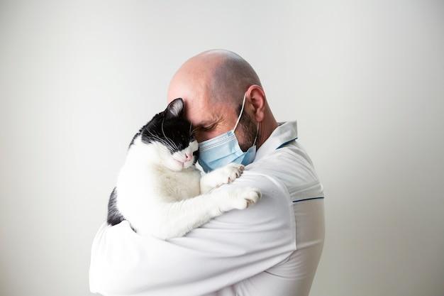 Veterinário abraça um gato nos braços. medicina veterinária. clínica de cuidado de animais domésticos