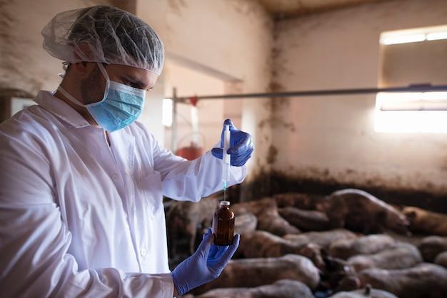 Veterinário com roupas protetoras segurando uma seringa com remédio na fazenda de porcos
