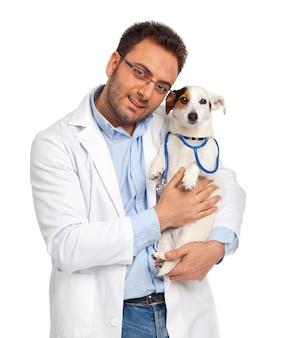 Veterinário e cão