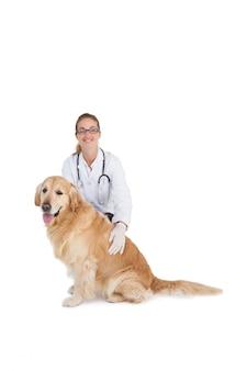 Veterinário sorridente com um labrador