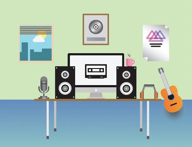 Vetor de estúdio de gravação em casa