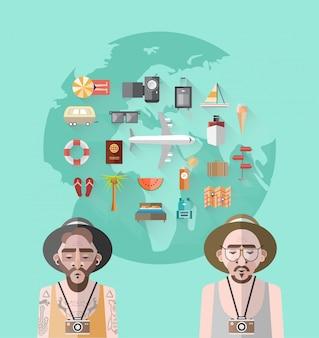 Vetor de explorador internacional com terra e ilustrações