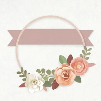 Vetor de grinalda de flores de papel artesanal redondo