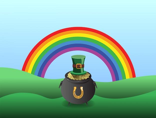 Vetor de st patricks day com pote de ouro e arco-íris