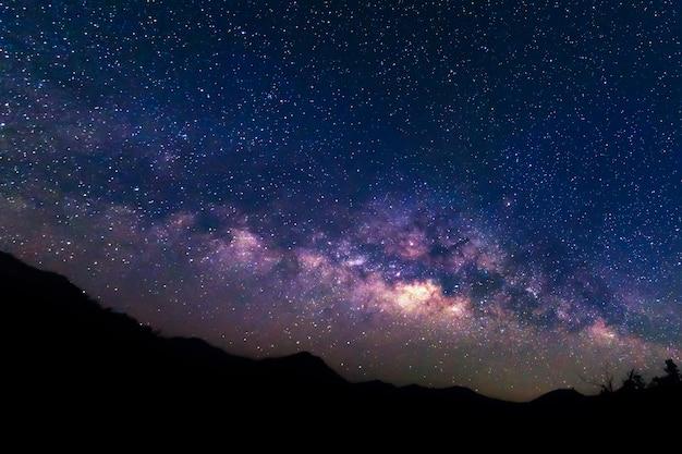 Via láctea e fundo do céu estrelado.