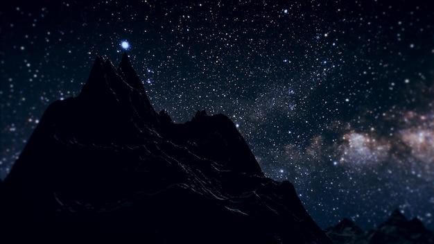 Via láctea na noite acima das montanhas