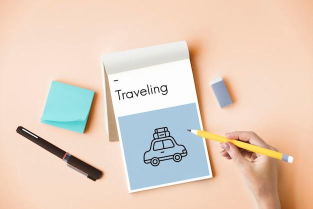 Viagem de carro, férias, exploração, destino, viagem