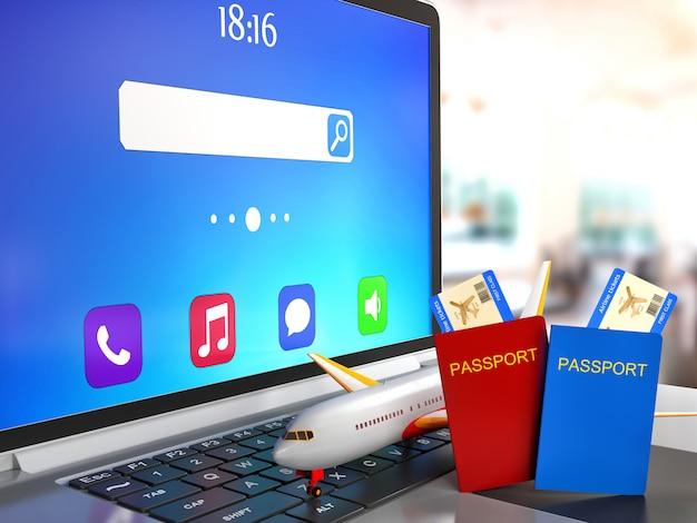 Viagem de conceito. laptop com passaporte e avião