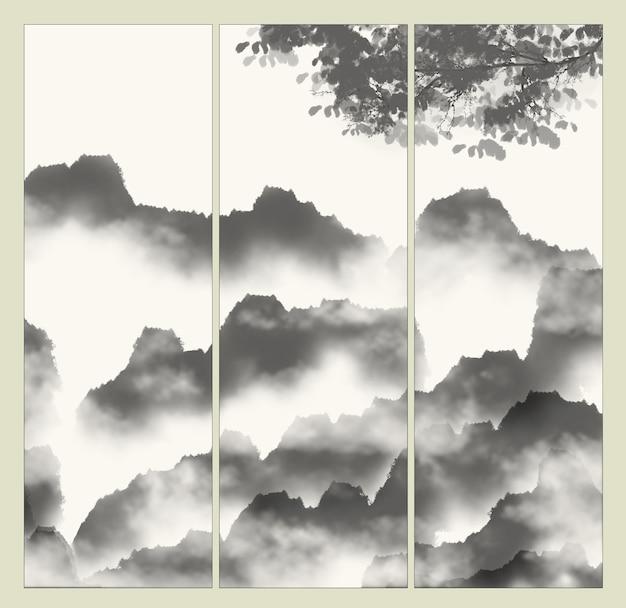 Viagem de material de nuvens pintada à mão japão