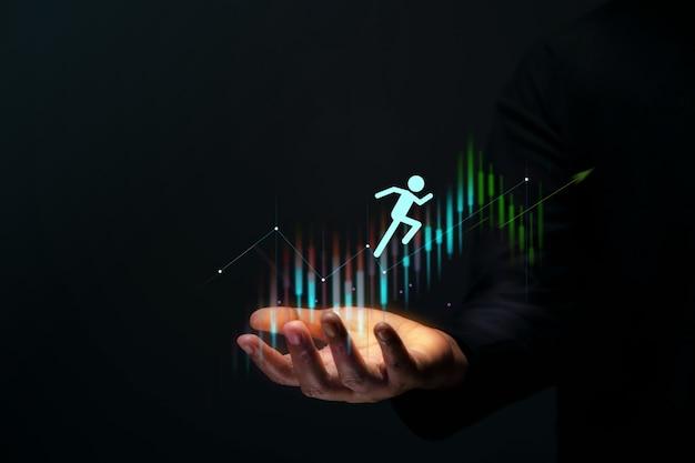 Viagem do cliente conceito de sucesso empresarial gesto com a mão apoiando o cliente