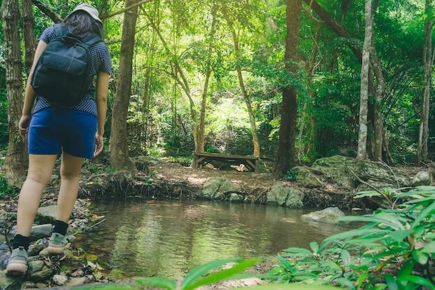 Viagem mulher subindo na rocha, o caminho para a cachoeira no parque natural