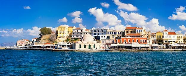 Viagem na grécia. marcos da ilha de creta - cidade velha veneziana de chania