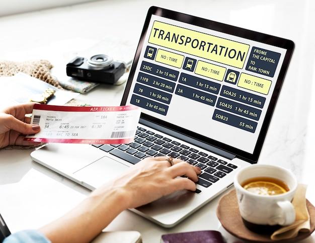 Viagem, navegação, viagem, férias, viagem, laptop, conceito
