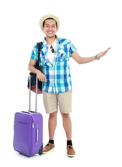 Viajante apresentando algo
