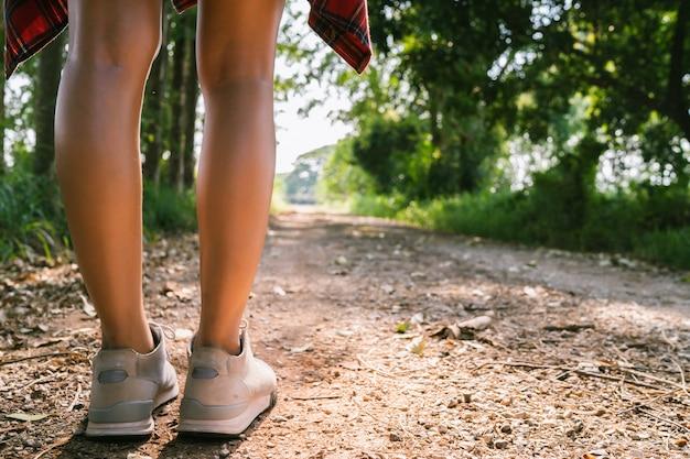 Viajante asiático novo feliz da mulher com trouxa que anda na floresta.