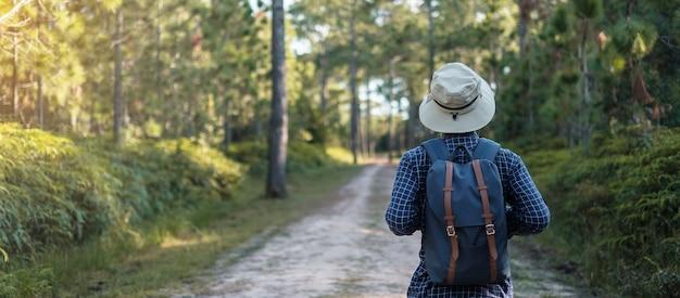 Viajante com chapéu caminhando pela floresta