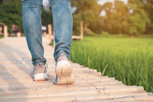 Viajante da jovem mulher que anda no campo de almofada verde bonito