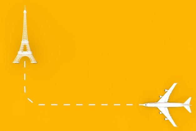 Viajar para o conceito de frança. avião de passageiro de jato branco voar para o edifício da torre eiffel em um fundo amarelo. renderização 3d