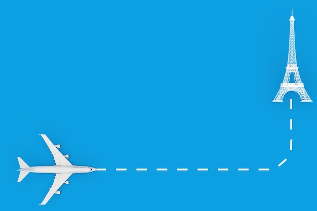 Viajar para o conceito de frança. avião de passageiro de jato branco voar para o edifício da torre eiffel em um fundo azul. renderização 3d
