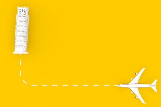 Viajar para o conceito de itália. avião de passageiro de jato branco voar para o edifício da torre de pisa em um fundo amarelo. renderização 3d