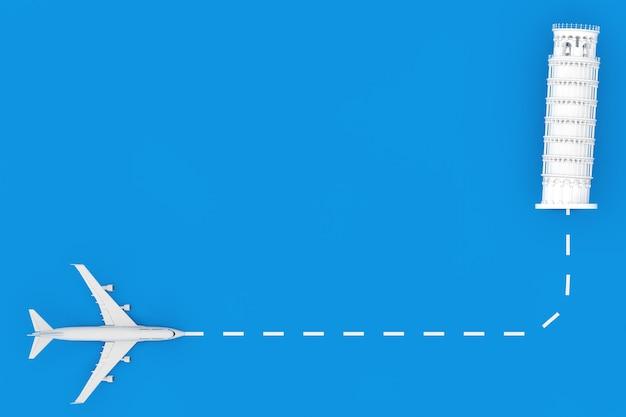 Viajar para o conceito de itália. avião de passageiro de jato branco voar para o edifício da torre de pisa em um fundo azul. renderização 3d