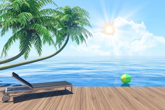 Vida ao ar livre, ligado, verão, férias, litoral, terraço, com, lounger, 3d, fazendo