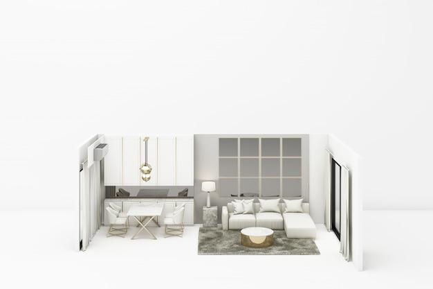 Vida interior moderna estilo clássico com móveis brancos em branco renderização em 3d