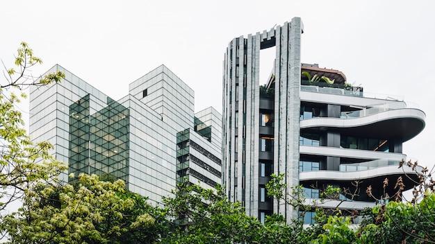 Vida moderna, arquitetura futurista, bens imobiliários perto de xiangshan taipei, taiwan.