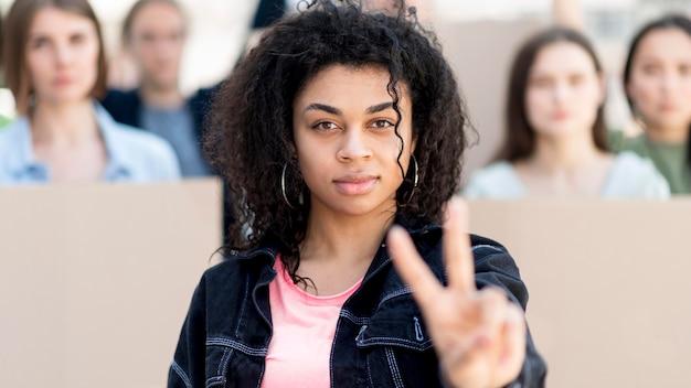 Vida negra sinal de paz importa conceito