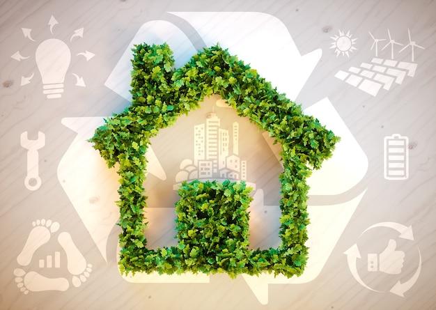 Vida sustentável - ilustração 3d com ícones de ecologia em fundo de madeira marrom.