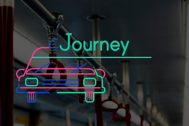 Vida urbana na estação de trem com ícone de carro