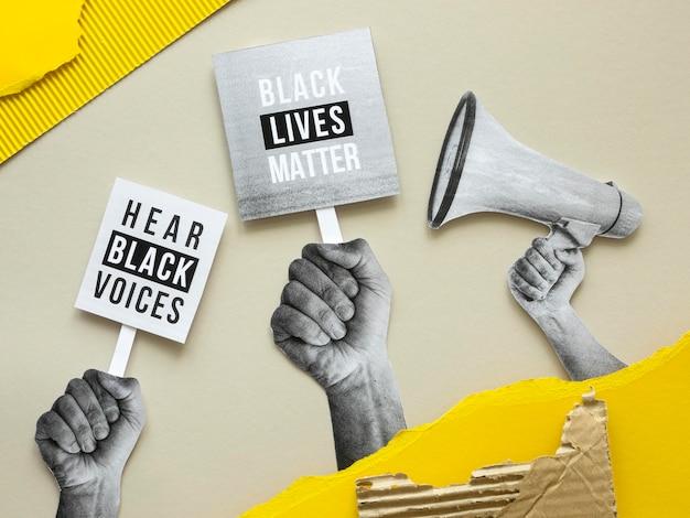 Vidas negras importam mensagem vista de cima