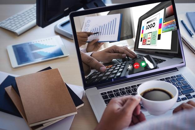Videoconferência de grupo on-line no laptop chamada de vídeo com o professor no computador, aprendendo on-line a partir do chat em aplicativos de videoconferência em casa