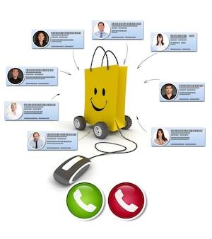 Videoconferência em um concurso de compras online