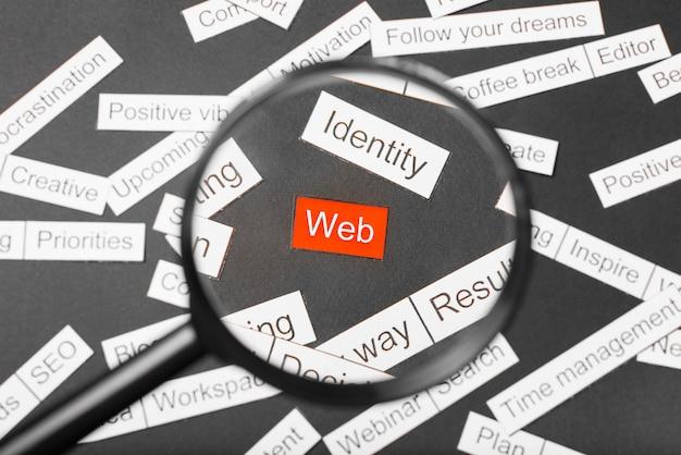 Vidro da lupa sobre a web inscrição vermelha recortada em papel. rodeado por outras inscrições em um fundo escuro. conceito de nuvem de palavras.