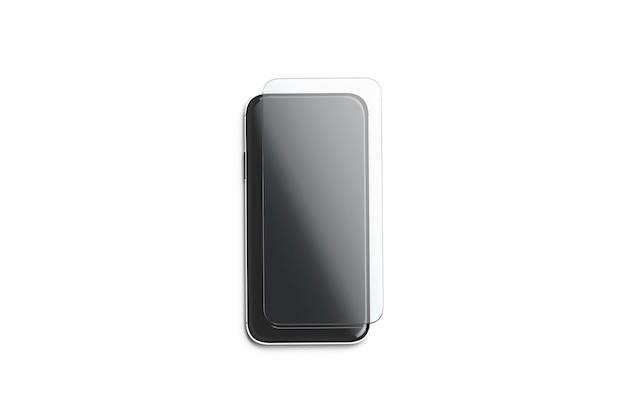 Vidro de proteção transparente em branco na maquete da tela do telefone